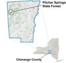 Pitcher Springs State Forest locator map