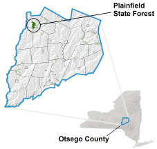 Plainfield State Forest locator map