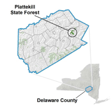 Plattekill State Forest locator map