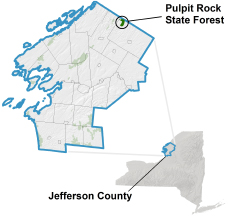 Pulpit Rock State Forest locator map