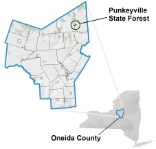 Punkeyville State Forest locator map