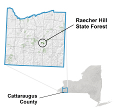 Raecher Hill State Forest locator map