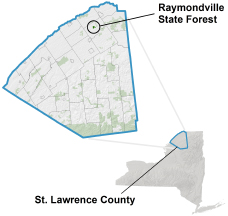 Raymondville State Forest locator map