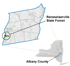 Rensselaerville State Forest locator map