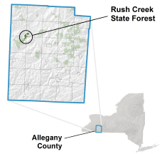 Rush Creek State Forest locator map