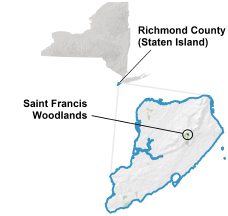 Saint Francis Woodlands locator map
