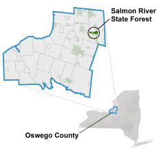 Salmon River State Forest locator map