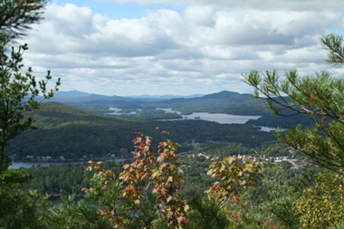 View of the Village of Saranac Lake and the Saranac Lake Wild Forest, as seen from Mount Baker