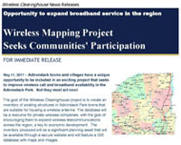 Press release seeking community participation in the Wireless Clearinghouse project