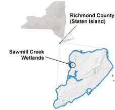 Sawmill Creek Wetlands locator map