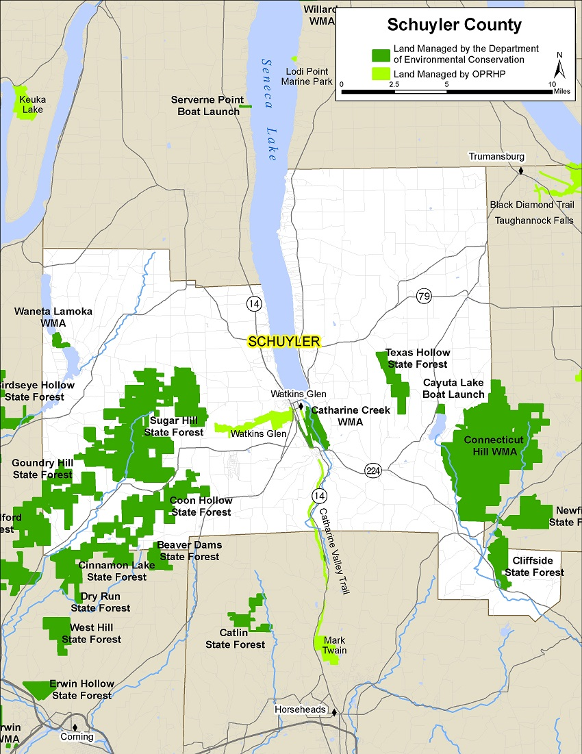 Map of Schuyler County showing State owned lands open to public recreation