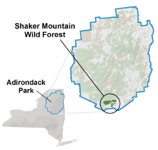 Shaker Mountain Wild Forest locator map