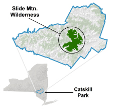 image showing location of Slide Mountain Wilderness