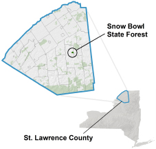 Snow Bowl State Forest locator map