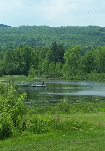 View of floating fishing pier on Birdseye Hollow Pond.