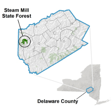 Steam Mill State Forest locator map