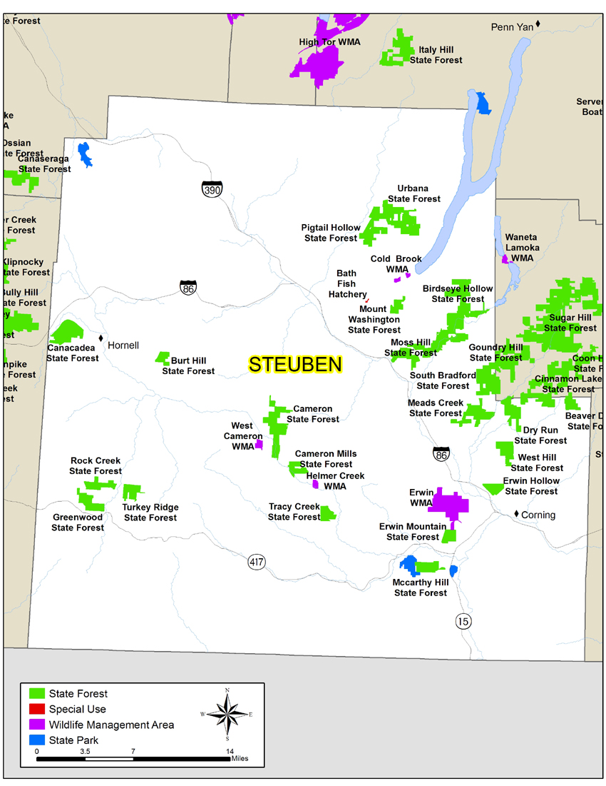Map of Steuben County showing State owned lands open to public recreation