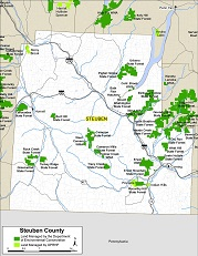 small map of Steuben County