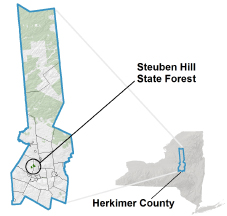 Steuben Hill State Forest locator map