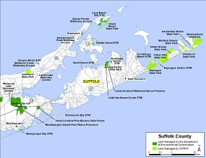 Map of eastern Suffolk County