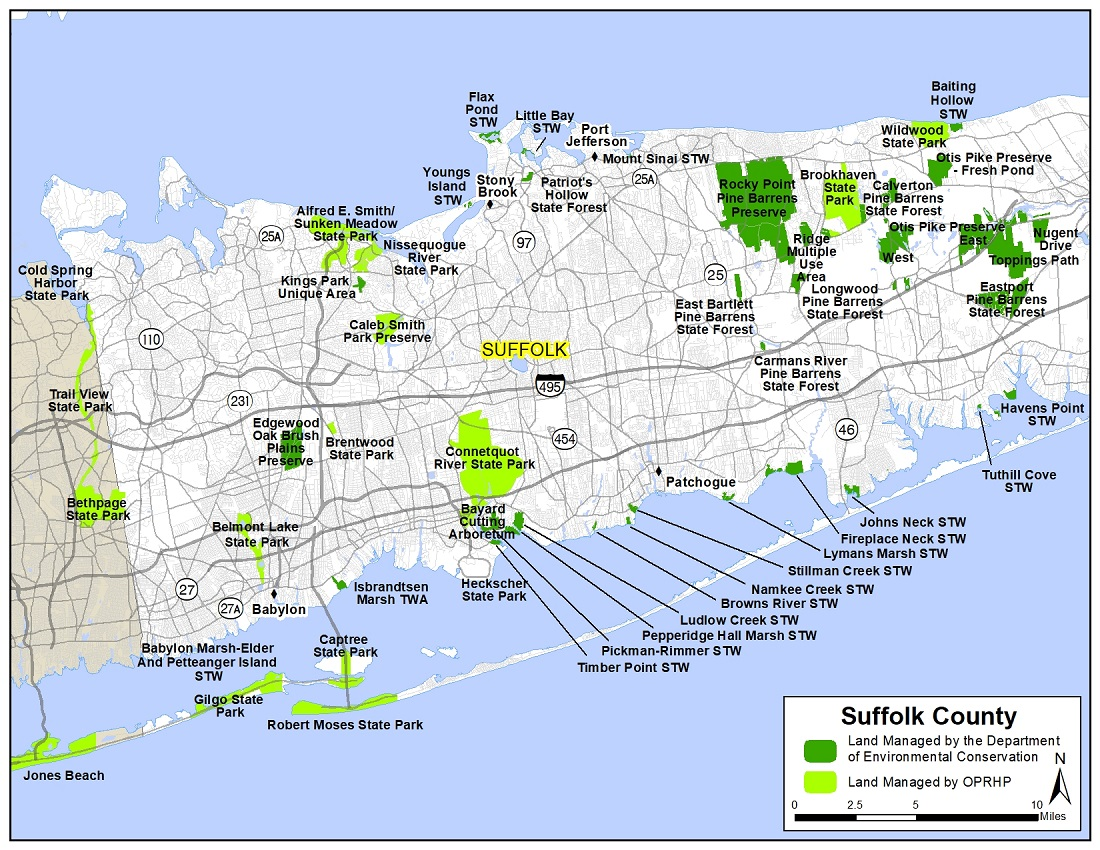 Map of western Suffolk County showing state-owned lands open for public recreation.