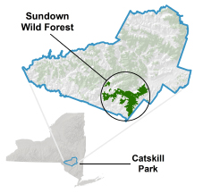 image showing location of Sundown Wild Forest