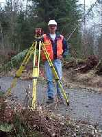 Surveyor at transit