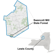 Swancott State Forest locator map
