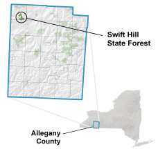 Swift Hill State Forest locator map