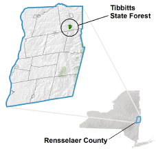 Tibbitts State Forest locator map