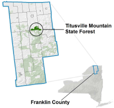 Titusville Mountain State Forest locator map