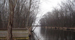 View of fishing platform and canal, looking out toward Oneida Lake