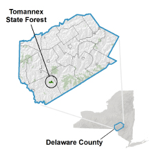 Tomannex State Forest locator map