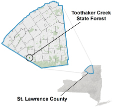 Toothaker Creek State Forest locator map