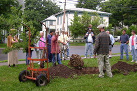 Cobleskill Tree Board members learn from Landis Arboretum Arborist Fred Breglia