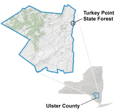 Map showing location of Turkey point in NY and Ulster County