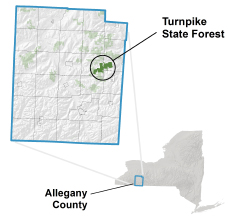 Turnpike State Forest locator map
