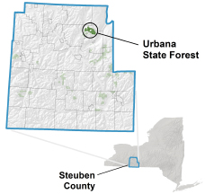 Urbana State Forest locator map