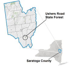 Ushers Road State Forest locator map