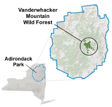 Vanderwhacker Mountain Wild Forest locator map