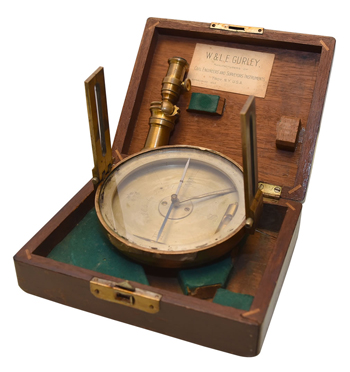 Vernier pocket compass, circa 1900, W.&L.E. Gurley, Troy, New York