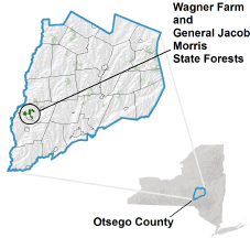 Wagner Farm State Forest locator map