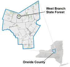 West Branch Sate Forest locator map