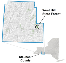 West Hill State Forest locator map