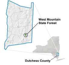 West Mountain State Forest locator map