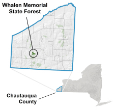 Whalen Memorial State Forest locator map