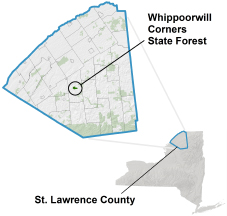 Whippoorwill Corners State Forest locator map