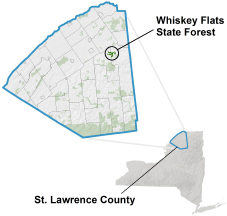 Whiskey Flats State Forest locator map