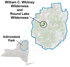 Whitney and Round Lake Wilderness locator map