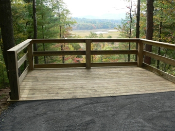 A photo of the wheelchair accessible observation platform at Wickham Marsh